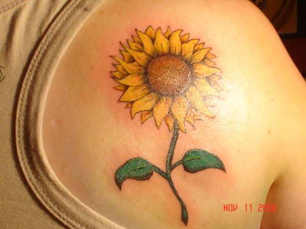Sunflowers And Butterflies Tattoos On Shoulder