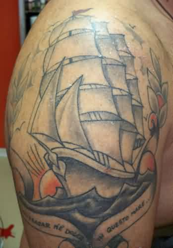 Sunset Anchor Ship Tattoo On Upper Arm