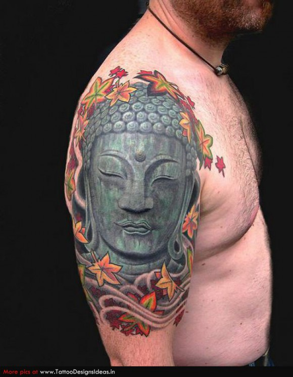 Superb Buddha Head Tattoo