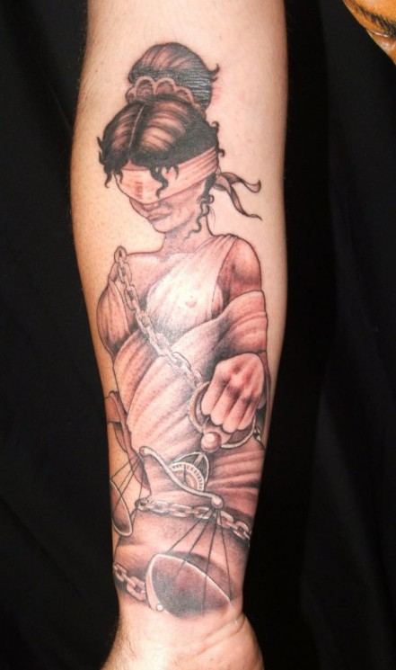 Superb Lady Justice Tattoo On Shoulder