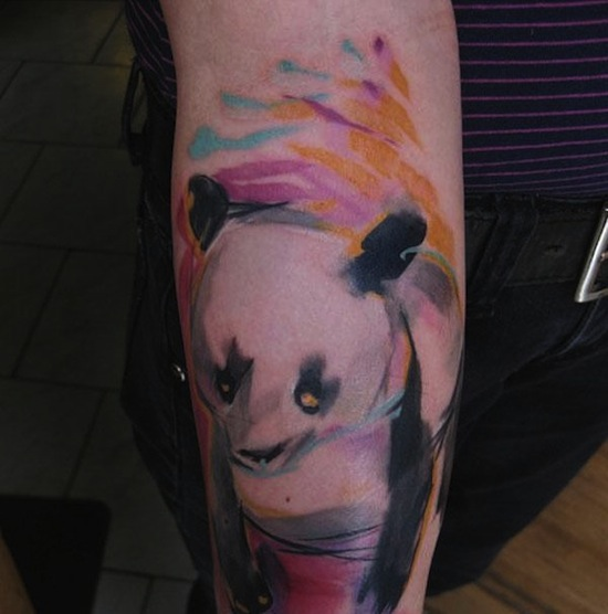 Superb Watercolor Bear Tattoo On Forearm