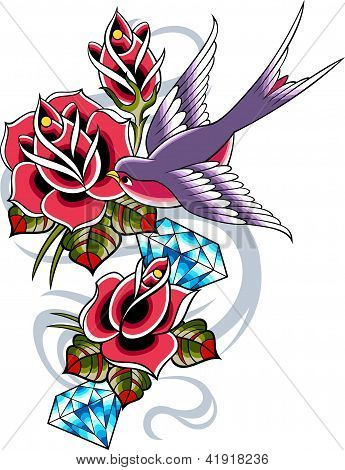 Swallow Diamonds n Rose Tattoo Design