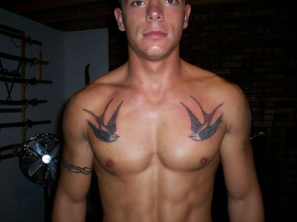 Swallow Heart With Rose Tattoo On Chest