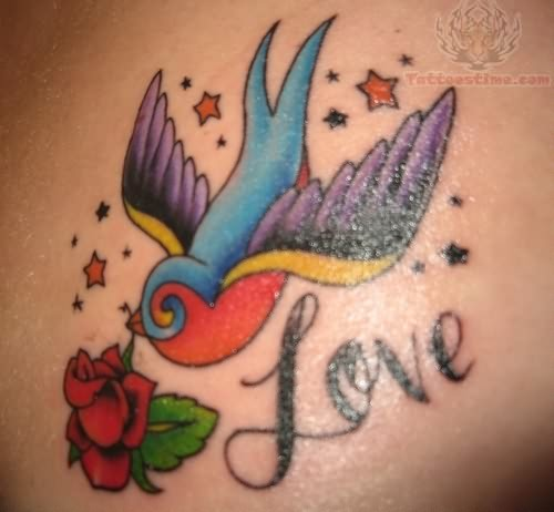 Swallow With True Love Banner Tattoo Design