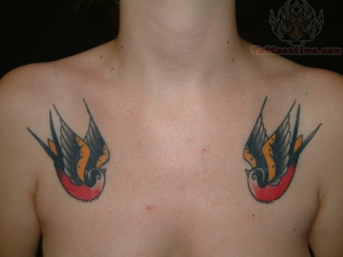 Swallows With Live For Today Banner Tattoo