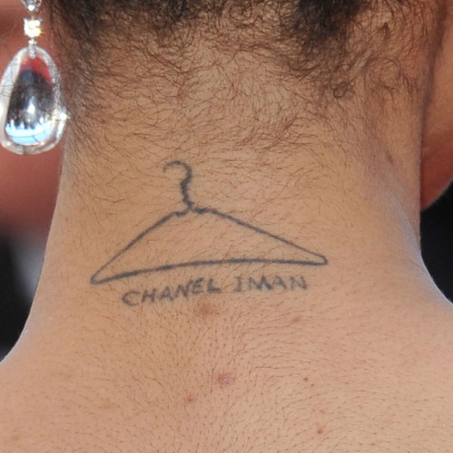 Sweet Clothers Hanger Tattoo On Back Neck