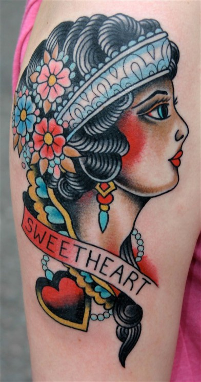 Sweet Heart Traditional Tattoo On Biceps