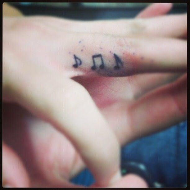 Sweet Music Note Tattoo On Side Of Finger