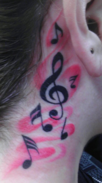 Sweet Music Notes Heart Neck Tattoo