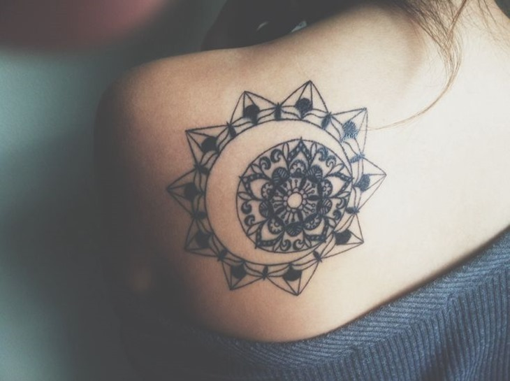 Sweet Sun And Moon Tattoos For Shoulder
