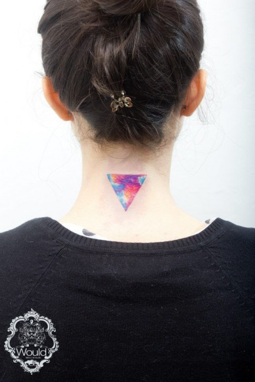 Sweet Triangle Tattoo On Back Neck