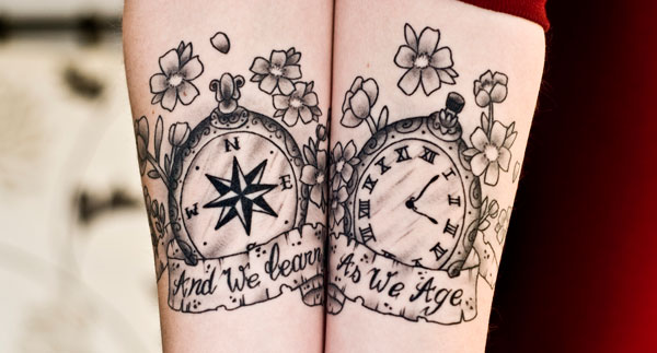 Sweet Watercolor Tattoos On Upper Arm