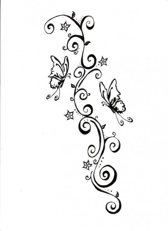Swirls Flowers And Star Tattoos Sketch