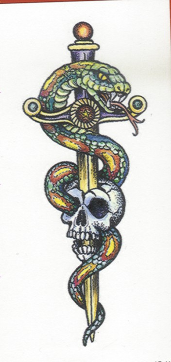 Sword In Skull And Snake Tattoos