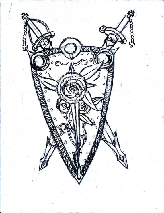 Sword Shield Skull And Roses Tattoo Design