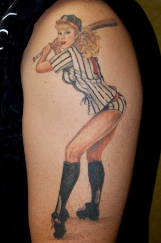 Tall Baseball Pin Up Girl Tattoo