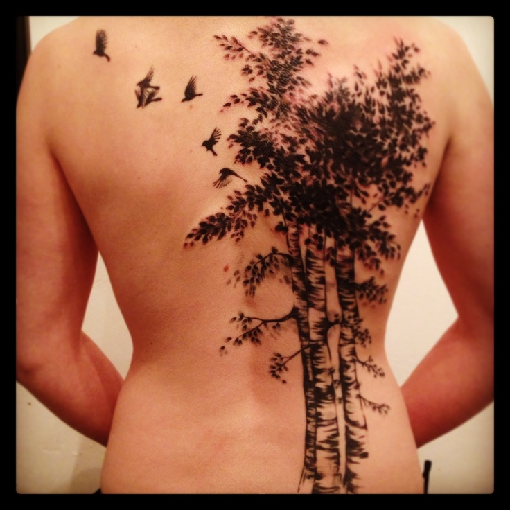 Tall Birch Tree Tattoo On Back Body