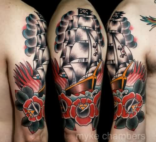 Tall Ship And Red Flowers Tattoos On Half Sleeve