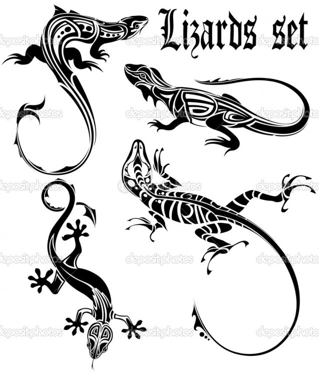 Tattoo Design Of Black Lizard