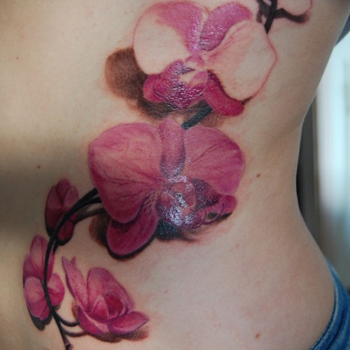 Tattoo Of A Pink Orchid