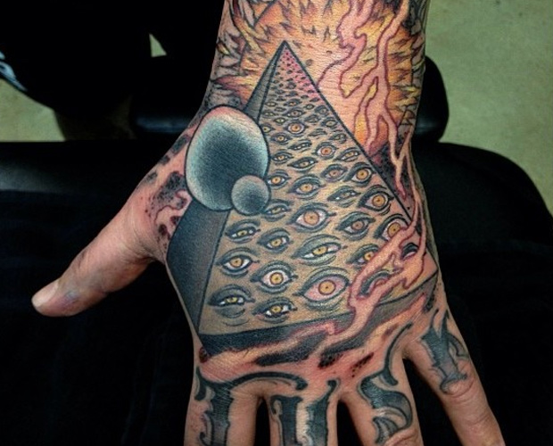Tattoo Of The Pyramid On Hand