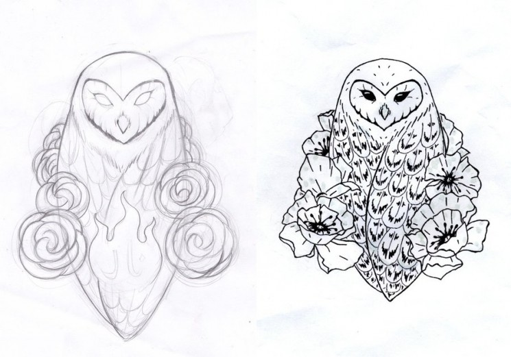 Tawny Owl Tattoo Sketch
