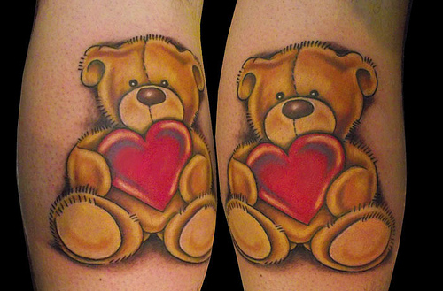 Teddy Bear Tattoo Design With Red Hearts