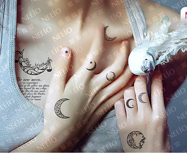 Temporary Moon Tattoo Designs On Fingers