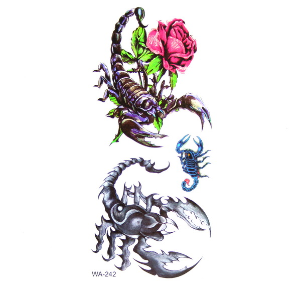 Temporary Scorpion And Rose Tattoo Design