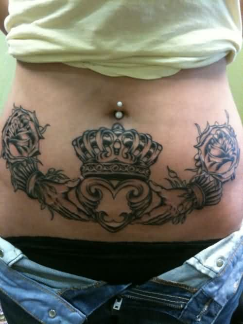 Terrific Claddagh Tattoo On Belly For Girls