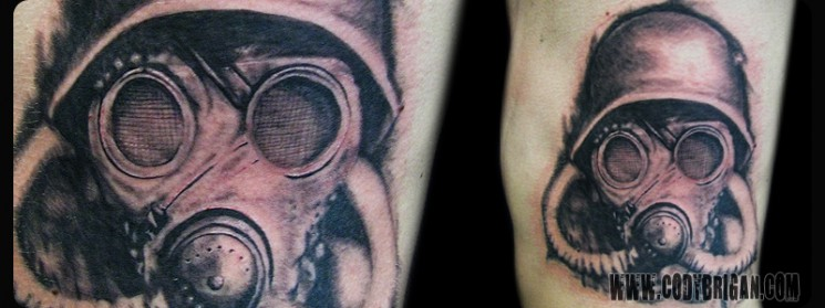 Terrific Gas Mask Tattoo Design