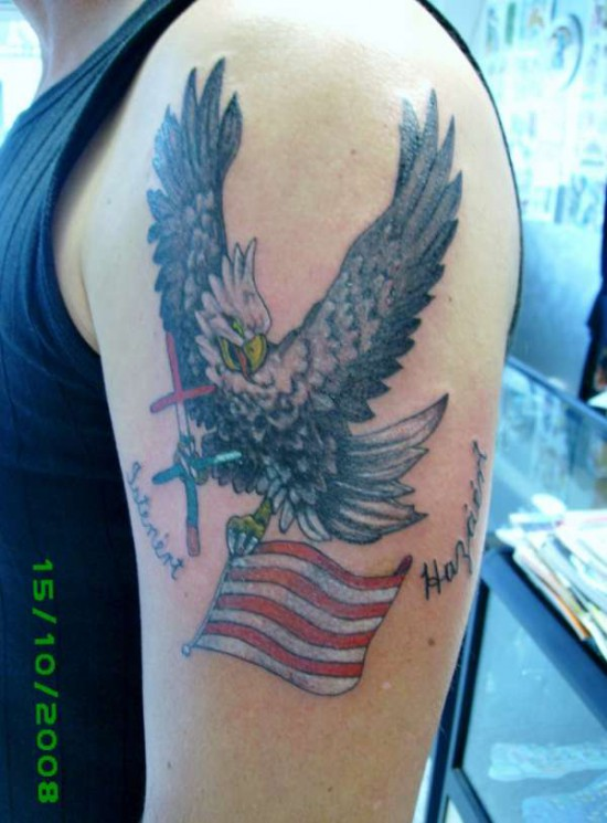 Terrific Traditional Eagle Tattoo For Biceps