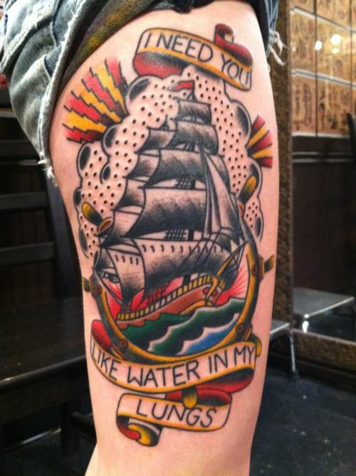 Terrific Traditional Ship Tattoo On Right Thigh