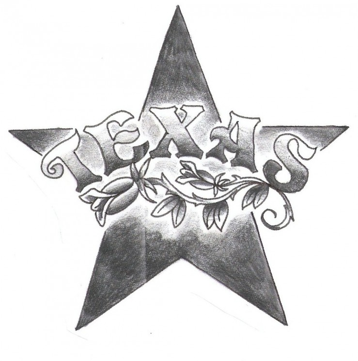 Texas Leaves And Star Tattoo Design