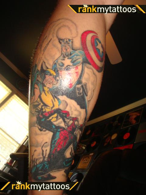 the avengers leg tattoo design in 2017 real photo pictures images and sketches tattoo. Black Bedroom Furniture Sets. Home Design Ideas