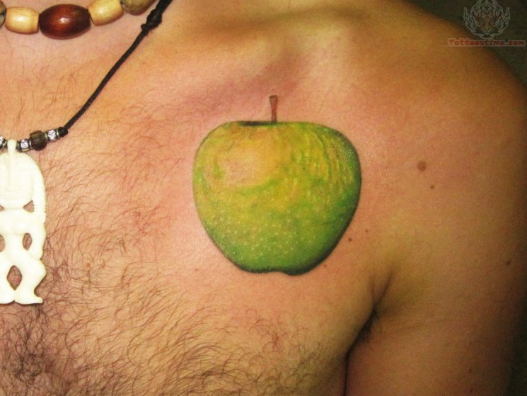 Apple With Snake  & Banner Tattoo On Belly