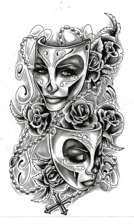The Girl Behind The Mask Tattoo Design