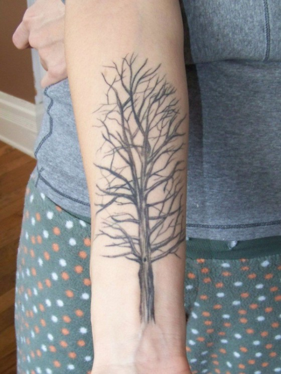 The Giving Tree Tattoo On Lower Arm