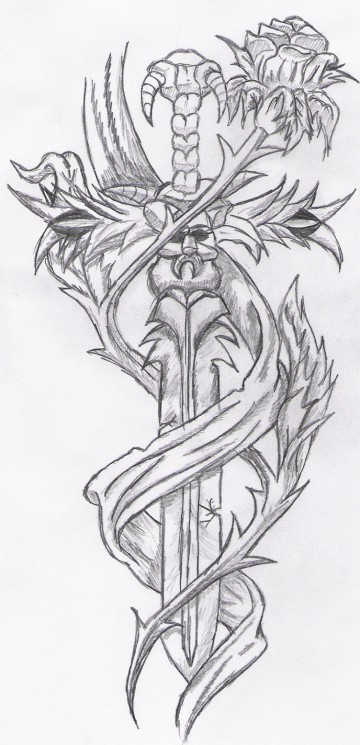 The Great Sword Tattoo On The Back