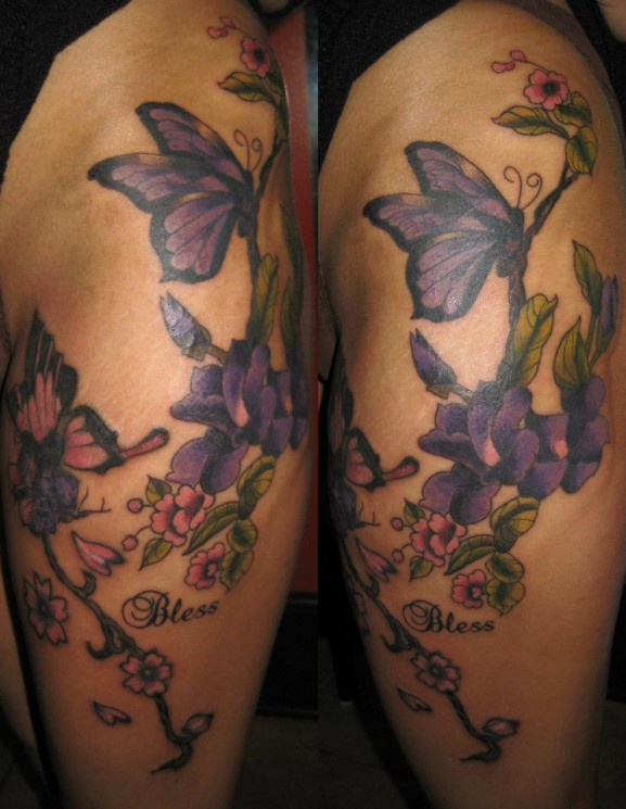 Thigh Flowers Tattoos For Girls