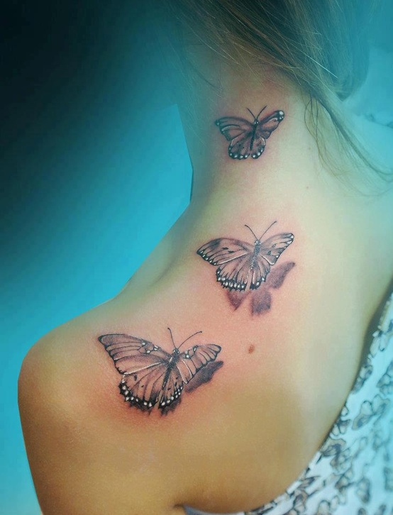 Three Tribal Butterflies Tattoos For Girls