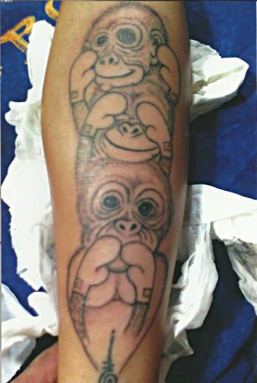 Three Wise Monkeys Tattoo And A Coin