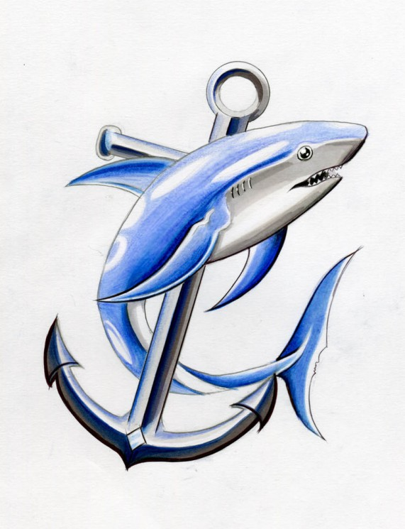 Thresher Shark Tribal Tattoo Design