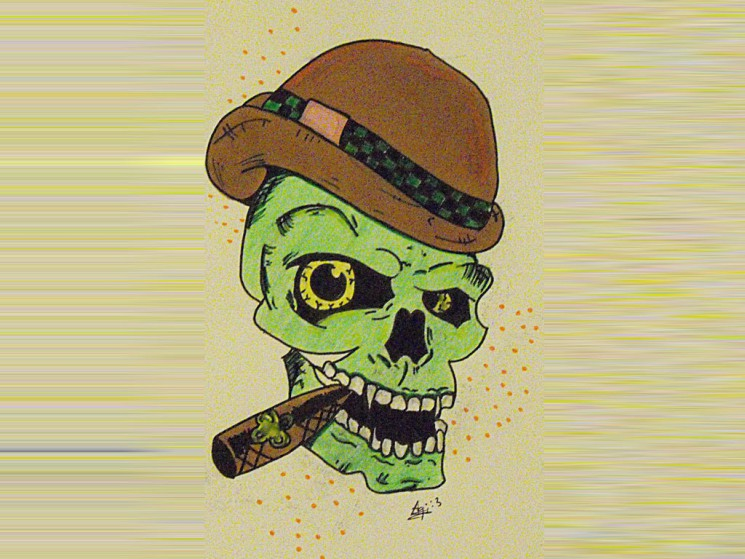 Thug Skull Smoking Cigar Tattoo Design