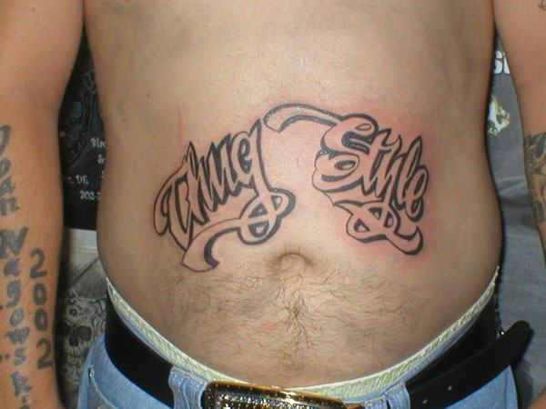 Thug Style Stomach Tattoo For Men