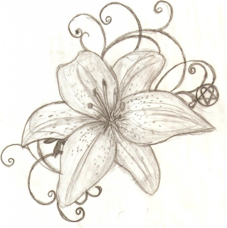 Tiger And Tiger Lilies Tattoo Design
