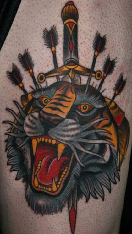 Tiger Knee Cap Tattoo Design