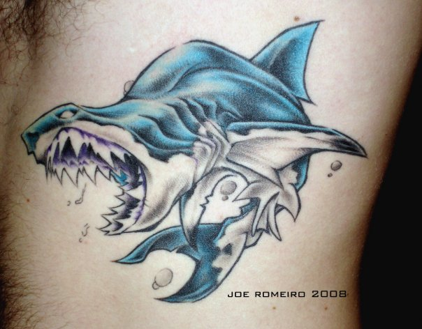 Tiger Shark And Blue Wave Tattoos On ThighGrey Zombie Shark Tattoo On Right Back Shoulder
