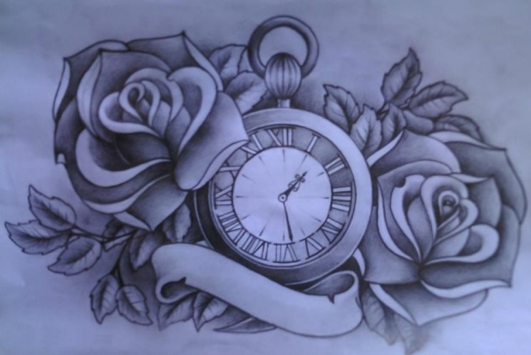 Time Heals Nothing Clock Tattoo Sketch
