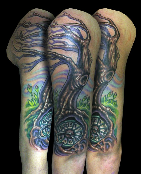 Time Tree Sleeve Tattoos